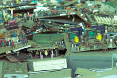 Electronic waste ready for recycling-Viltage filter. Electronic waste ready for recyclingmainboard computer-Viltage filter royalty free stock photo