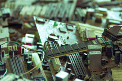 Electronic waste. Ready for recyclingmainboard computer-Viltage filter royalty free stock images