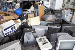 Electronic waste. RUZOMBEROK, SLOVAKIA - APRIL 25: Electronic waste in landfill at centre of town on April 25, 2014 in Ruzomberok royalty free stock photo