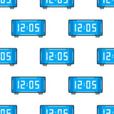 Electronic watch. Flat color icon. Seamless pattern with clock. Vector Stock Photos