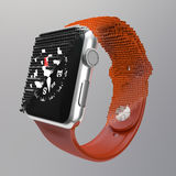 Electronic watch transition. Transition electronic watch into energy cubes,voxels stock photo
