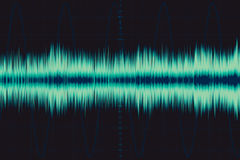 Electronic wave. sound frequency wave. Oscilloscope digital waveform signal on green screen illustration Stock Photography