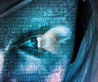 Electronic Woman. With Key hole Eye royalty free illustration