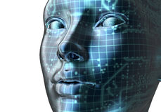 Electronic woman or female cyborg on binary background,. 3D illustration Stock Photography