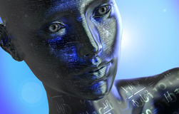 Electronic woman or female cyborg isolated on binary background Stock Image
