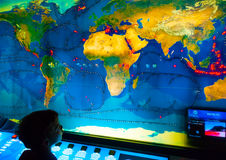 Electronic World Map. BARCELONA, SPAIN -AUG 25, 2009: A map with the streams worldwide located in the aquarium of Barcelona in Barcelona, Spain on Aug 25, 2009 royalty free stock photos