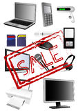 Electronics. Illustration of detailed electronics with sale stamp Stock Image