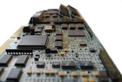 Electronics. The computer electronic card with chips, microprocessors, transistors, explorers and other electronic parts Royalty Free Stock Image