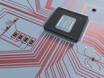 Electronics. 3D-modelled electronic components representing the notion of technology Royalty Free Stock Image