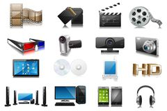 Electronics. Easy to edit collection of electronic and media device royalty free illustration