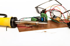 Electronics. Desktop for work as radio components Stock Photography
