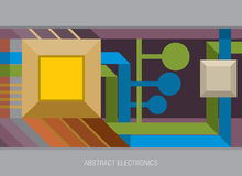 Electronics. Abstractly drawn electronic board with the processor, wires and contacts Stock Images