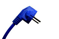 Electronics accessory. Blue electrical plug and electrical cord isolated on white background Stock Photos