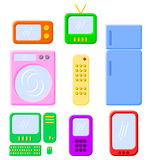 Electronics and Appliances. Set of electronics and appliances on white background Royalty Free Stock Images