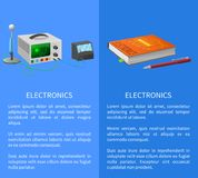 Electronics Banner with Place for Text on Blue. With textbook, ballpoint pen and various electricity related devices for measuring signals Stock Photos