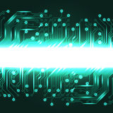 Electronics blue background with circuit board Stock Photo