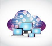 Electronics blue circuit board cloud illustration Stock Image