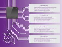 Electronics circuit board Infographics. Electronics circuit board purple background with micro chip Infographics , Vector illustraion Royalty Free Stock Photo