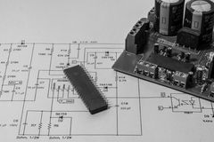 Electronics. Circuit board with micro-controller Stock Photography