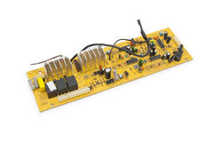 Electronics circuit board over white Royalty Free Stock Image