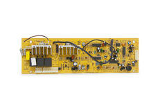 Electronics circuit board over white Royalty Free Stock Images