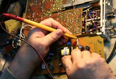 Electronics circuits board. Sound instrument electronic circuits board Stock Photos