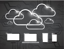Electronics and clouds computing illustration Royalty Free Stock Photo