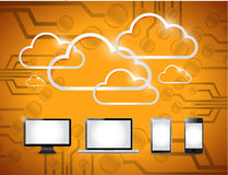 Electronics and clouds computing illustration Royalty Free Stock Photos