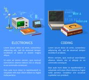 Electronics and Coding Lessons Promotional Poster. With special equipment for researchers, open laptop and thick textbooks vector illustrations Stock Photography