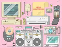 Electronics collection from 90s, vector illustration set. Retro vintage electronics set with computer, mouse, printer, mobile phone, cd player, photo camera Stock Image