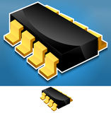 Electronics component. Chip, Processor modern, stylish backdrop - Icon Royalty Free Stock Photo