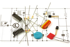 Electronics components. A set of electronics component on a circuit diagram or schematic stock images
