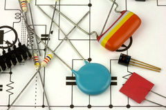 Electronics components. A set of electronics component on a circuit diagram or schematic royalty free stock photography