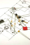 Electronics Components. Set out on a circuit diagram stock images