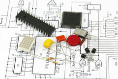 Electronics components. And circuit diagram royalty free stock photography