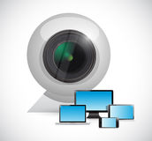 Electronics connected to a computer camera. Illustration over a white background Royalty Free Stock Images