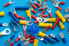 Electronics Connectors. A variety of crimp conenctors used in electrical and electronics circuits stock images