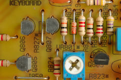 Electronics. Detail electronic components soldered to your motherboard Royalty Free Stock Photos