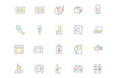 Electronics and Devices Colored Outline Icons 6 stock illustration