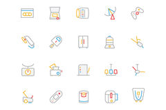 Electronics and Devices Colored Outline Icons 7 Royalty Free Stock Image