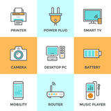 Electronics and devices line icons set stock illustration
