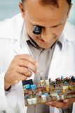 Electronics engineer. Serious engineer examining computer chip Stock Images