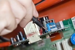 Electronics. Engineer at work Royalty Free Stock Image