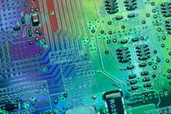 Electronics engineering motherboard digital data. Computer microprocessor chip development. Modern scientific technology. Engineer data electronics science Stock Photography