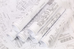 Electronics and Engineering. Printed drawings of electrical circ Royalty Free Stock Photos