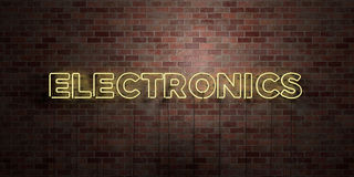 ELECTRONICS - fluorescent Neon tube Sign on brickwork - Front view - 3D rendered royalty free stock picture Stock Images
