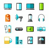 Electronics, gadgets and appliances color icons. Stock Images