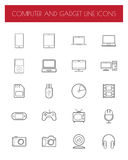 Electronics and gadgets thin line icons set. Stock Photos