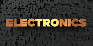Electronics - Gold text on black background - 3D rendered royalty free stock picture Royalty Free Stock Photo
