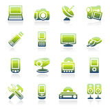 Electronics green icons. Royalty Free Stock Photography